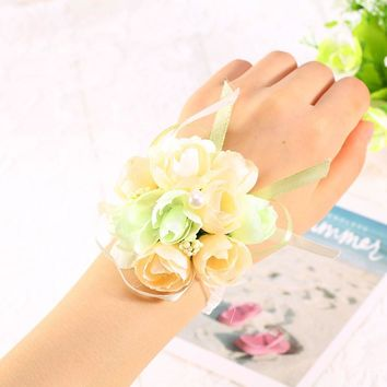 1Pc Wedding Silk Bridal Bridesmaid HandMade Bouquet Hand Flowers Wrist Corsages