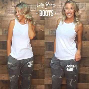 """""""City Roots in Boots"""" Camo Women's Lounge Pants"""
