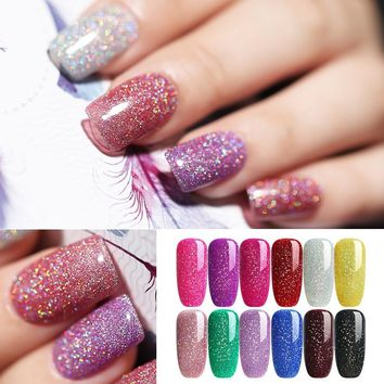 UR SUGAR Rainbow Purple Opal Jelly Gel Holographic Glitter Gel Colorful Super Shine Shimmer Manicure Soak Off UV Gel Polish