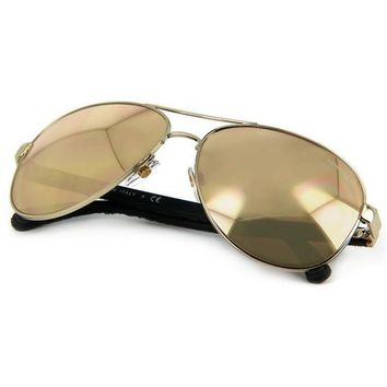 Chanel Pilot Quilting Pale Gold and Distressed Grey Frame Sunglasses