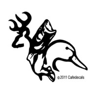 10 Inch Buck Duck And Fish Decal Sticker