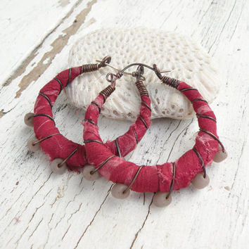 Gypsy Hoop Earrings, Medium Silk Wrapped Eclectic Bohemian Copper Hoops in Dark Pink