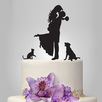 Wedding Cake Topper birde and groom silhouette with dog and cat, pets Cake Topper, couple,  funny topper, kissing couple topper lab dog