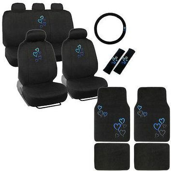 Licensed Official New Blue Heart Car Front Back Full Seat Covers Floor Mats & Steering Wheel Cover