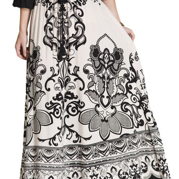 Womens Ivory & Black Floral Print Ethnic Long Full Length Boho Gypsy Maxi Skirt