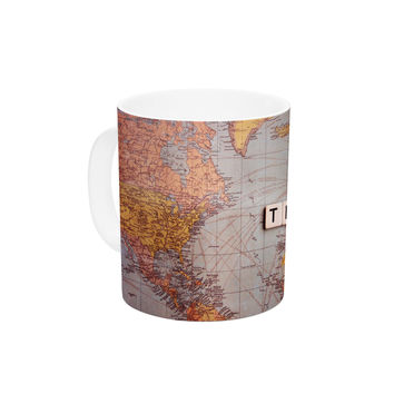 "Sylvia Cook ""Travel Map"" World Ceramic Coffee Mug"