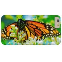Cute, chic orange monarch butterfly close-up photo barely there iPhone 6 plus case