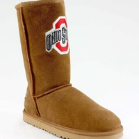 Gameday Ohio State Ladies Sheepskin Roadie Boots - Hickory