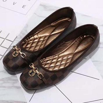 Louis Vuitton Women Retro Plaid Flat Shoes Canvas Sandals Shoes