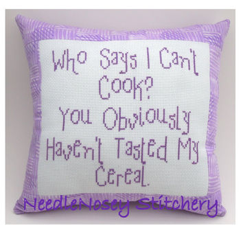 Cross Stitch Pillow Funny Quote Purple Pillow by NeedleNosey