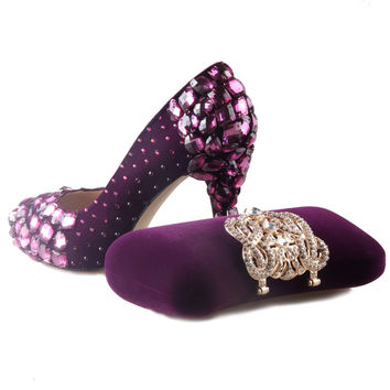 Elegant flock dark purple closed toe crystal rhinestone shoes with matching clutch handbag crown sparkle outfit party wedding