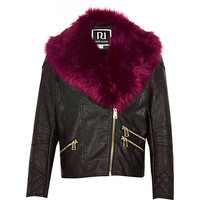 River Island Girls black pink faux fur collar Pu jacket