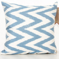 16x16 Ikat Pillow Cover, 40x40, Chevron Pattern, Bright Ikat, Silk Ikat, Cushion Cover, Bedding Pillow, Blue Pillow, Throw - IY104151008