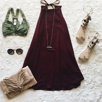 A High Neck Swing Dress in Wine