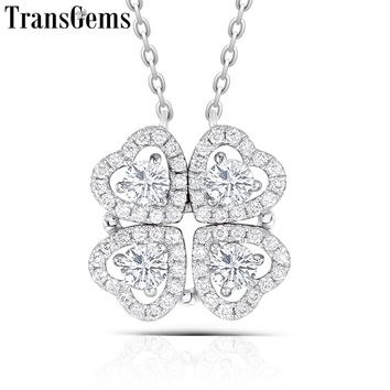 TransGems Solid 14K White Gold Center 4PCS 3MM Heart Shaped F Color Moissanite Four Leaf Clover Pendant Necklace for Women Gift