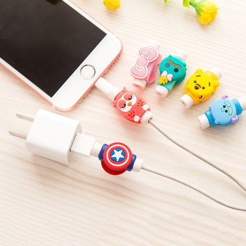 Cartoon Silicone Cute Cable protectors Mobile phone decoration Accessories for iphone 5 5s 6 6s 7 7s plus avoid cable Fracture