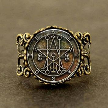 Vintage Seal of Astaroth Sigil silver bronze masonic man adjustable Ring jewelry steampunk men women charms jewelry black friday