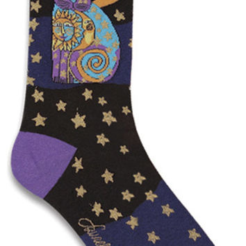 Laurel Burch Socks-Celestial Cat-Black