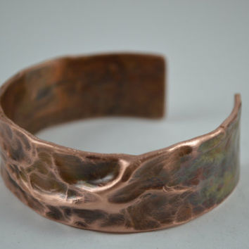 Copper Arm Cuff, Copper Cuff,  Rustic Copper Bracelet, Rustic Cuff Bangle, Copper Jewelry, Handcrafted Jewelry, Unisex Jewelry, Copper Bangl