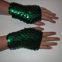 Scale Maille Armor Gauntlets Forest Green Knitted by Crystalsidyll