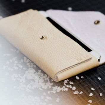 white leather and felt phone case for iPhone, HTC, LG Samsung Galaxy, Sony Xperia