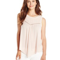 Democracy Women's Woven Tank with Crochet Yoke