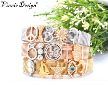 Vinnie Design Stainless Steel Mesh Bracelet Sets with Keeper Slide Charms Keys Fashion Women Jewelry