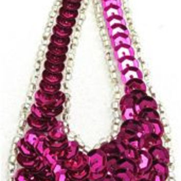 """Design Motif Large Teardrop with Fuchsia Sequins and Silver Beads 1.5"""" x 4"""""""