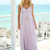 Lavender Lace Maxi Dress with Open Back