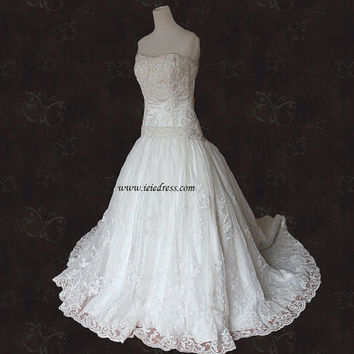 Strapless Beaded Lace Ball Gown Wedding Gown Wellington Y11088