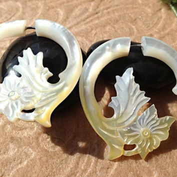 Fake Gauge Earrings, Mother of Pearl/Shell, Hand Carved, Naturally Organic, Tribal
