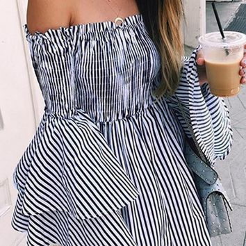 Nautical Beauty Black White Vertical Stripe Pattern Long Flare Sleeve Smocked Off The Shoulder Empire Waist Casual Mini Dress