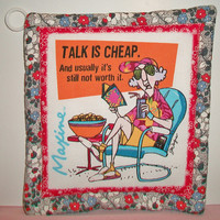 Aunty Acid Pot Holder Trivit Quilted Red Grey Talk Is Cheap Kitchen Decor Cooking Baking