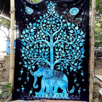 Tree Of Life Blue Trippy Boho India Wall Hanging Elephant Tapestry