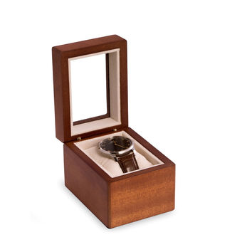 Cherry Wood Single Watch Box with Glass Top