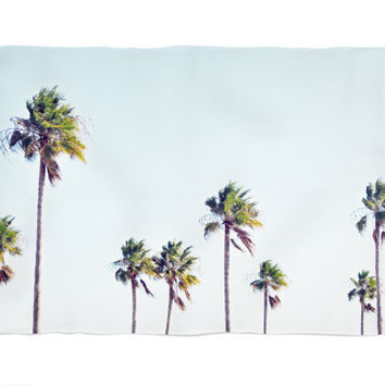 Fort De Soto Palms 2 - Fleece Blanket, Palm Trees Bedding Accent, Blue & Green Beach Style Coral Fleece Throw Cover. In Small Medium Large