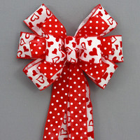 Red Heart Polka Dot Valentine's Day Bow