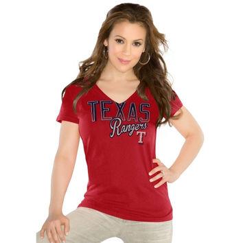 Touch by Alyssa Milano Texas Rangers Ladies Start Up V-Neck Slim Fit T-Shirt - Red
