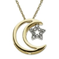 """14k Yellow Gold Moon and Star Diamond Pendant Necklace, 18"""""""