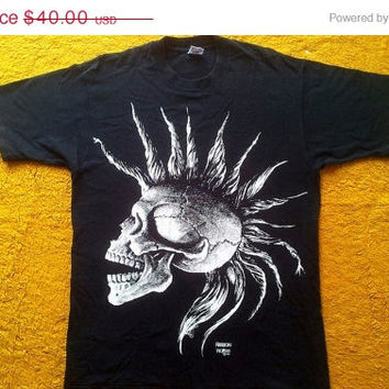 ON SALE 1991 Vintage vtg The Bones Skulls Fashion Victim Punk Exploited Black Size L tee Black t shirt 1990's