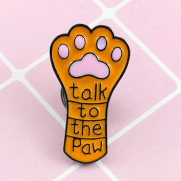 New Long Cute Cat Claw Dog Claw Brooch Talk To The Paw Orange Pet Paw Print Enamel Lapel Pin Jeans Leather Badge Kid Friend Gift