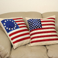 Quilted Throw Pillows, 20 Inch American Flag Pillow Covers, Rustic American Flags with Constitiution Preamble, Patriotic Pillow Covers