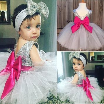 Toddler Kids Newborn Baby Girls Dress Bridesmaid Wedding Party Pageant Dresses