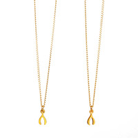 one for you one for me sisters wishbone necklaces, gold dipped - Dogeared