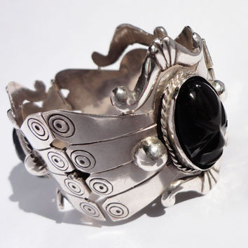 SILVER and ONYX MEXICAN Vintage Panel Cuff Bracelet71 by cdif