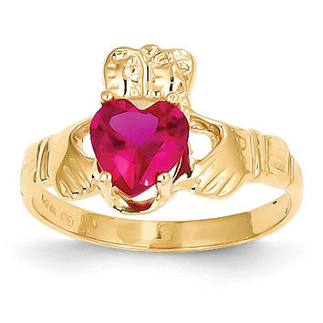 14k July Birthstone Claddagh Ring