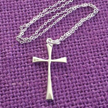 Godmother Gift - First Communion Gift - Catholic - Cross Necklace - Religious Jewelry - Sterling silver Cross - Godmother Necklace