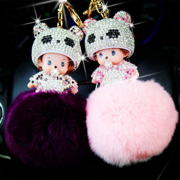 Free shipping Cute Monchichi doll Key chain Monchichi Sleutelhanger Rhinestone Rabbit Fur Ball Pom Pom Keychain Women Key Holder