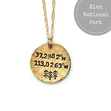Zion National Park Longitude Latitude Necklace