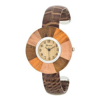 Brenna Wood Inspired Leather Cuff Watch - Dark Brown & 2 more colors